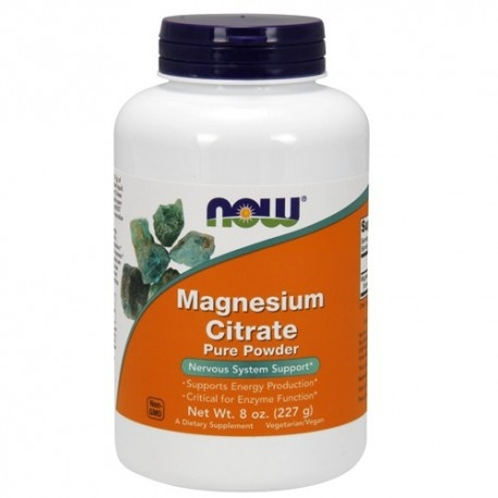 Zinco e Magnesio Now Foods, Magnesium Citrate, 227 g.