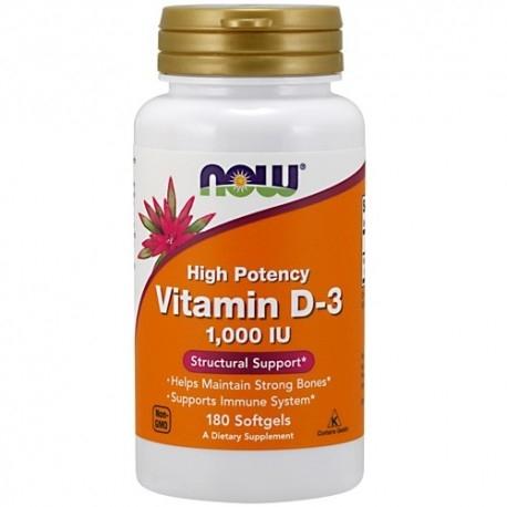 Vitamina D Now Foods, Vitamin D-3 1000 IU, 180 cps