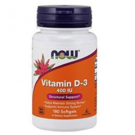 Vitamina D Now Foods, Vitamina D-3 400 IU, 180 cps.