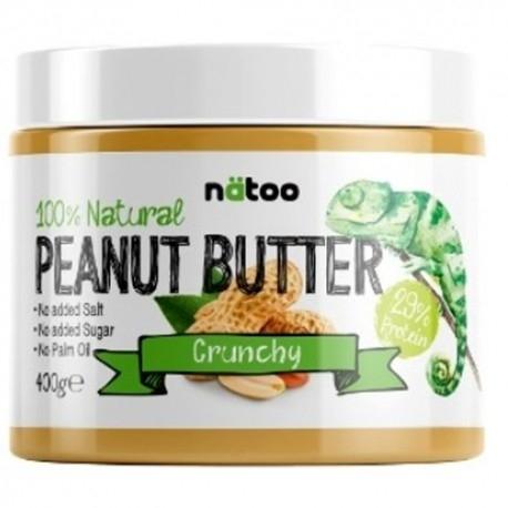 Burro di Arachidi Natoo, 100% Natural Peanut Butter Crunchy, 400 g.