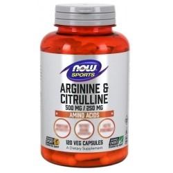 Arginina Now Foods, Arginine e Citrulline, 120cps