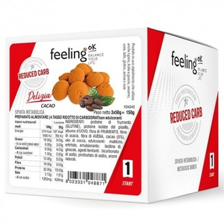 Pasti e Snack Proteici Feeling Ok, Delizia, 3 x 50 g.
