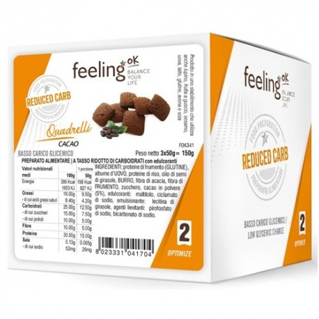 Biscotti e Dolci Feeling OK, Quadrelli Optimize, 3 x 50 g. (150 g.)