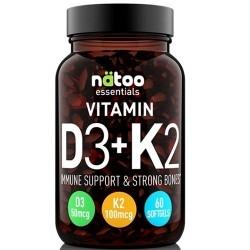 Vitamina D Natoo, Essentials Vitamin D3+K2, 60 cps