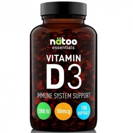 Vitamina D Natoo, Essentials Vitamin D3 2000 IU, 180 cps