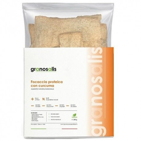 Pane e Prodotti da Forno Granosalis, Focaccia Proteica con Curcuma, 200 g