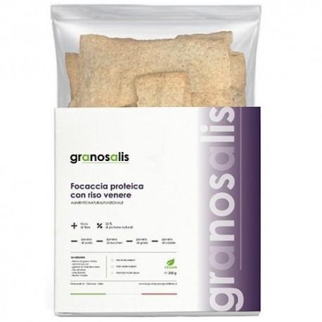 Pane e Prodotti da Forno Granosalis, Focaccia Proteica con Riso Venere, 200 g